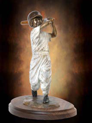 Little League baseball sculptures in bronze, baseball ballpark statues and monuments, sports sculptures, public sports monuments by monumental bronze sculptor, Tom White, bronze sculptures of boys playing baseball, commission sports award trophies, College Baseball Foundation's Brooks Wallace Award for Shortstop Player of the Year designed by Tom White