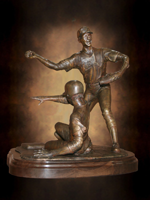 College Baseball Foundation's Brooks Wallace Award for Shortstop Player of the Year designed by Tom White, Little League baseball sculptures in bronze, baseball ballpark statues and monuments, sports sculptures, public sports monuments, monumental bronze sculptures, bronze sculptures of boys playing baseball, commission sports award trophies