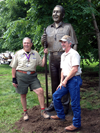 Bronze portrait sculpture of Bob Mazzuca, Past Chief Scout Executive and visionary for The Summit, Paul Christen, donor of Christen High Adventure Base to the Boy Scouts of America, Greenbrier Resort owner Jim Justice, Jr. and father hunting scene bronze sculpture with grouse, hunting dog, Stephen Bechtel commissioned monumental portrait bronze sculpture, BSA Summit, Boy Scouts of America, Summit Bechtel National Family Scout Reserve, SBR, West Virginia, high adventure base camp scouting, memorial portrait sculptor Tom White, of Prescott, Arizona, 2013 Jamboree dedication of statues, commission a bronze sculpture monument, portrait sculptures of, Walter Scott, J.W. and Hazel Ruby, Wayne Perry, Jack Furst, Senator Joe Manchin
