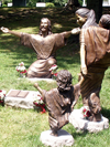 """Welcoming Christ"" life-size bronze sculptures of Jesus Welcoming Children, Cave Hill Cemetery Kentucky Governor Matt Bevin and wife Glenna's daughter's memorial portrait bronze scene, church sculptures, Christian schools, prayer garden memorials of Jesus Christ, bronze portrait memorials, Christian sculptor, Tom White, Biblical and religious monumental statues, monumental Christ sculptures, parables of Jesus in art, faith-based sculptures, images of Christ"