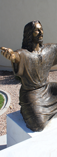 Welcoming Christ life-size bronze Spirit of Joy Church, Gilbert, AZ and Communion bronze sculpture elements, Wash My Feet, Lord Sculpture
