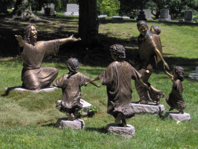 """Welcoming Christ"" monumental bronze statue of Jesus and Children, church sculptures, Christian school mascot statues, prayer garden memorials of Jesus Christ, memorials by Christian sculptor, Tom White. Biblical and religious monumental statues.  Sculptures of the Last Supper, Washing Jesus' Feet, communion elements bread and wine in bronze, monumental Christ sculptures, parables of Christ in art, faith-based sculptures, images of Christ"