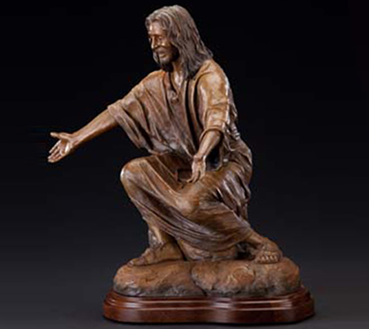 """Christ Our Rock"" tabletop bronzes and life-size monumental statues of Jesus and children, tabletop bronze sculptures of Jesus, Tom White, Christian Sculptor, Tannersville, Pennsylvania Our Lady of Victory Church, Davidson Memorial Prayer Garden Gatesville, TX, Christian sculptures, tabletop Biblical faith-based sculptures, statues of Christ, public monuments, statues of Jesus welcoming children, Jesus Christ sculptures, religious monumental bronze sculptures, liturgical statues, inspirational gifts, sculptures Jesus in the garden of Gethsemane, bronze communion sculptures, wash disciples feet sculpture scene, Lifesize bronze sculpture of Jesus, ""Christ Our Rock"", monumental bronze sculptures for churches, Christian schools and colleges, Christian Artist Tom White, figurative bronze portrait sculptures"
