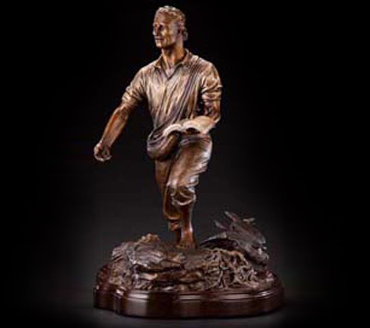 Tabletop Sower statue, Parable of the Sower & the Soils monumental bronze sculpture, Tom White Christian monumental bronze sculptor, Billy Graham Library Sower statue, Franklin Graham Samaritan's Purse Gift, Biblical statues, Sower tabletop bronze sculpture, Biblical bronze sculptures, BGEA statue, Good Samaritan sculpture in bronze, public religious bronze monuments, Christian inspirational art and gifts, statues of Jesus, bronze prayer garden monuments, prodigal son bronze Father's Love