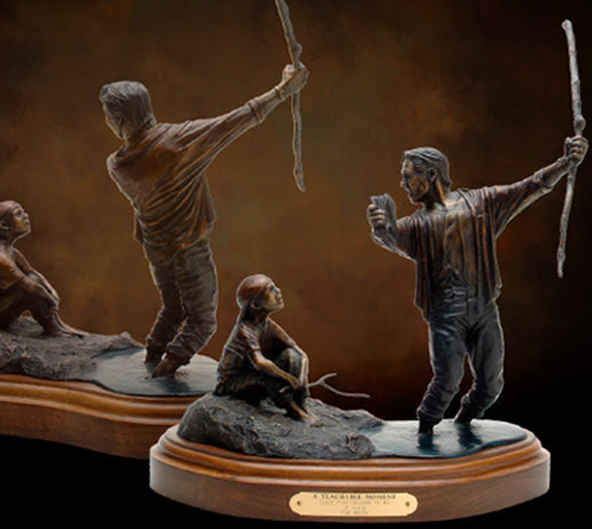 Tabletop Bronze Sculpture Father And Son Bronze