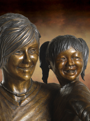 Contemporary Lifesize Bronze Statue Of Teenage Girl And