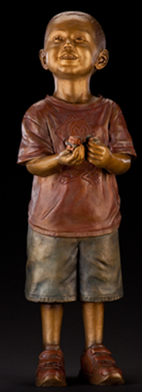 """Will & His Trains"" - Lifesize portrait bronze memorial sculpture, bronze statue of little boy playing with trains, Will Poteet-Berndt, Cavehill Cemetery, Louisville, KY, monumental bronze sculptor, Tom White, commemorative commission public bronze statues, figurative family portraits, sculptures of children playing, bronze statues of children, bronze sculptures of children, bronze statues for parks, churches, homes, businesses, cities and public entities."