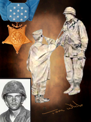 Medal of Honor recipient Kenneth Worley, Monumental life-size bronze statues of Medal of Honor recipients, including Sp5c Clarence E. Sasser, life-size bronze statue of a Gold Star Mom, 40-ft. Brazoria County Ring of Honor in Angleton, Texas; MOH Pfc. Emory L. Bennett, Riverside Park, Cocoa, FL; portrait bronze sculpture of MOH Marine Kenneth Worley.  Created by Tom White, figurative monumental bronze sculptor, public war memorials honoring soldiers, military sculptures - Army, Air Force, Navy, Marines, Coast Guard, historical war memorials, Civil War monuments, Buffalo soldiers, commission a sculpture of a soldier hero, heroic war monuments